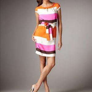 Casual Work shift sheath tunic striped Silk betty